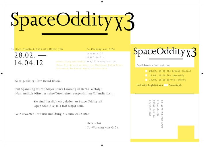 Einladungskarte Space Oddity © Susann Zielinski 2012